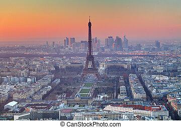 párizs, napnyugta, felülnézet