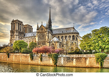 párizs, notre, ellen-, dáma, székesegyház