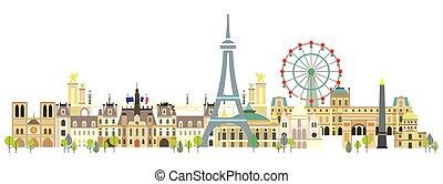 párizs, színes, vektor, 3