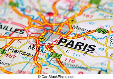 párizs, térkép, mindenfelé, út