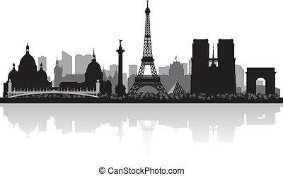 párizs, város égvonal, árnykép, franciaország
