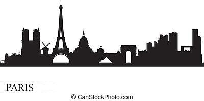 párizs, város égvonal, árnykép, háttér