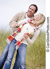 párosít, álló, képben látható, tengerpart, mosolygós