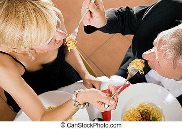 párosít, étkezési, főtt tészta, helyett, vacsora
