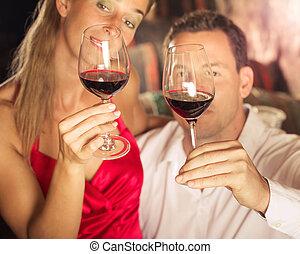 párosít, ízlelés, vörös bor, alatt, pince, -ban, winetasting