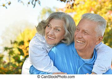 párosít, öreg, boldog