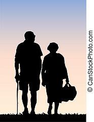 párosít, öreg, gyalogló