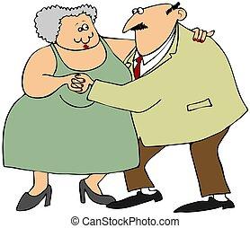 párosít, öreg, tánc
