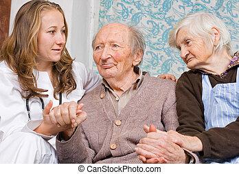 párosít, öreg, young orvos