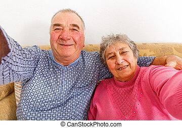 párosít, öregedő, boldog
