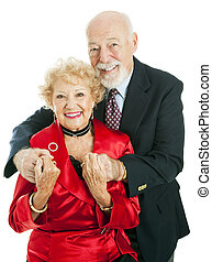 párosít, ünnep, idősebb ember, boldog