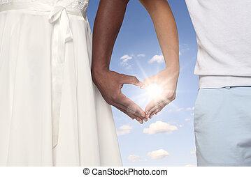 párosít, alakítás, szív alakzat, kezezés együtt