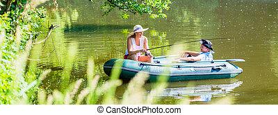 párosít, alatt, csónakázik, képben látható, tavacska, vagy, tó halfajták