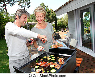 párosít, alatt, kert, főzés, hús, képben látható, grillsütő