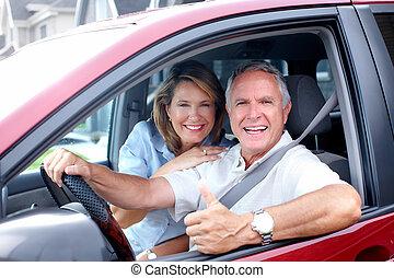 párosít, autó., idősebb ember, boldog