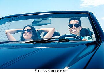 párosít, autó., vezetés