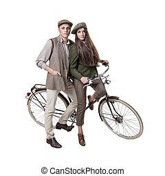 párosít, bicikli, retro