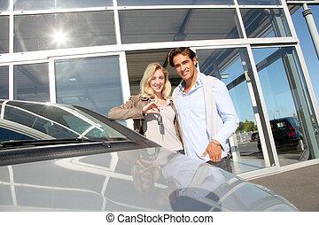 párosít, birtok, autó kulcs, alatt, autó, kereskedelem