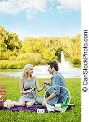 párosít, birtoklás, romantikus, dátum, a parkban