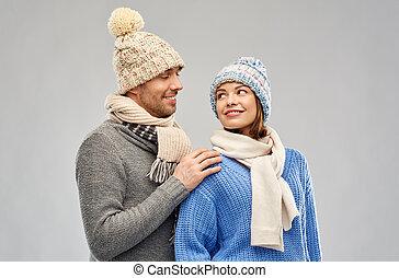 párosít, boldog, öltözék, tél