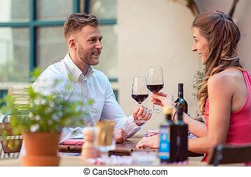párosít, boldog, birtoklás, vörös bor