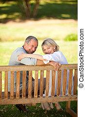 párosít, boldog, nyugdíjas, ülés