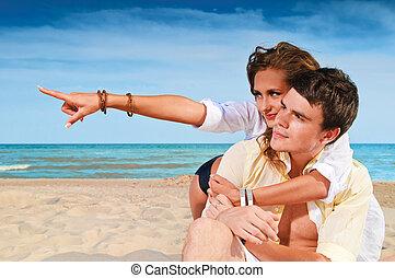 párosít, boldog, tengerpart, ülés