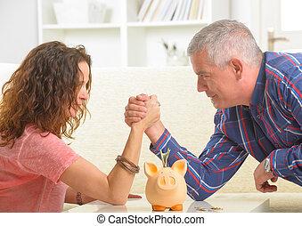 párosít, cselekedet, armwrestling