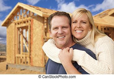 párosít, előtt, új családi, szerkesztés, koholás, házhely