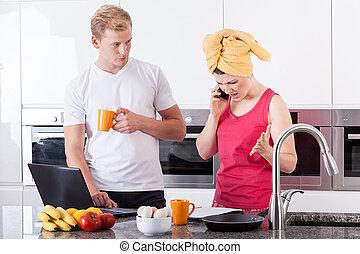 párosít, elfoglalt, konyha, reggel