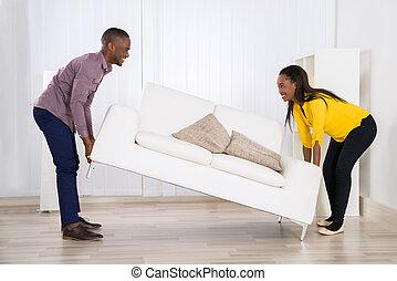 párosít, elhelyezés, pamlag, alatt, nappali