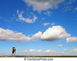 párosít, ellen, kék ég
