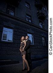 párosít, fénykép, utca, szeret, romantikus