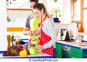 párosít, főzés, alatt, belföldi konyha, egészséges táplálék