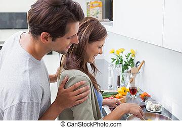 párosít, főzés, alatt, konyha