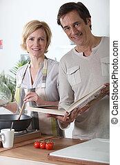 párosít, főzés, együtt, alatt, konyha