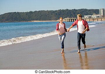 párosít, futás, képben látható, tengerpart