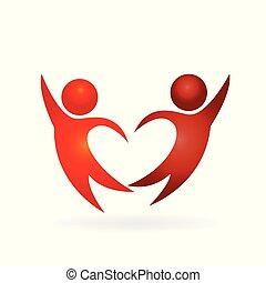párosít, gyártás, egy, szeret szív, alakít, jel