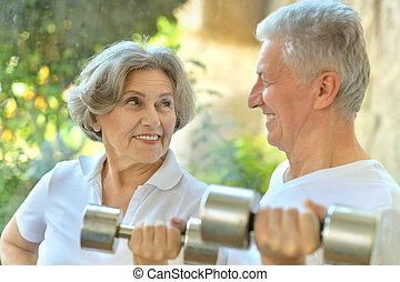 párosít, gyakorlás, öregedő