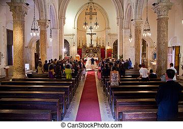 párosít, házasodás, alatt, egy, templom