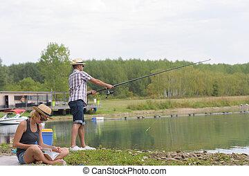 párosít, halászat, képben látható, egy, tó