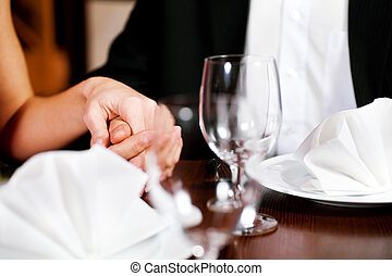 párosít hatalom kezezés, képben látható, egy, étterem, asztal