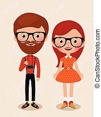 párosít, hipsters