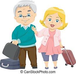 párosít, idősebb ember, utazás