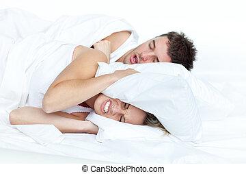 párosít in ágy, időz, a, nő, van, fárasztó, to alszik