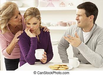 párosít, interferring, vita, anya, otthon, idősebb ember, birtoklás