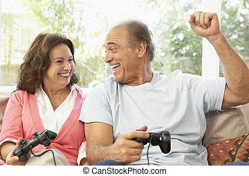 párosít, játék, számítógép, otthon, idősebb ember, játék