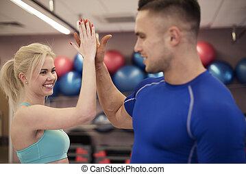 párosít, jó, tréning, után, boldog