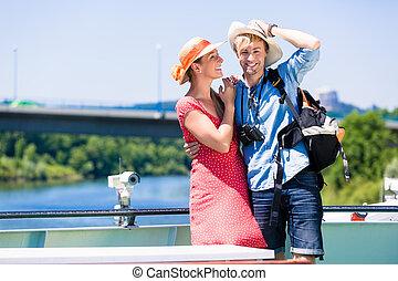 párosít, képben látható, folyó, cirkálás, fárasztó, nap kalap, alatt, nyár