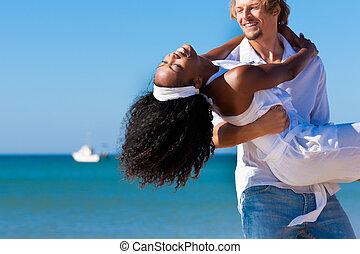 párosít, képben látható, napos, tengerpart, alatt, nyár